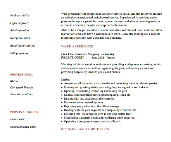 sample receptionist resume