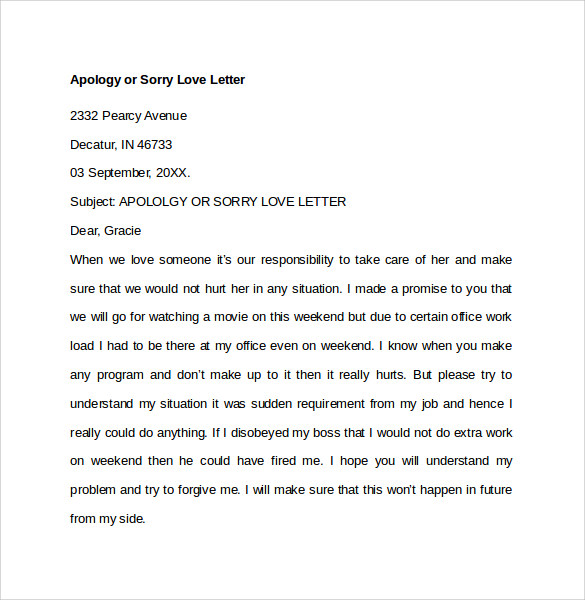 Apology Love Letter
