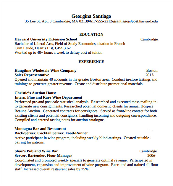 Sample Bartender Resume Template   Download Free Documents In Pdf