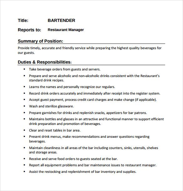 Free 8 Sample Bartender Resume Templates In Pdf Ms Word