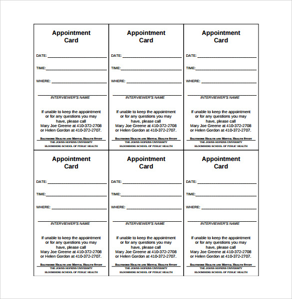 9 sample appointment cards sample templates for Appointment cards templates free