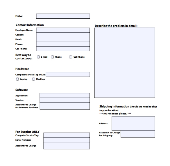 13 computer service request form templates to download for User access request form template