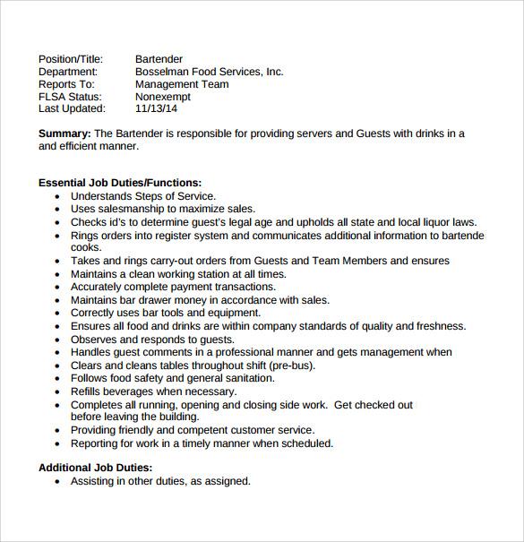Samples resume for a bartender