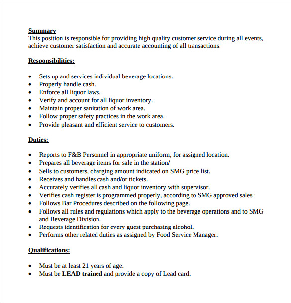 Marvelous Bartender Duties For Resume Throughout Bartender Duties Resume