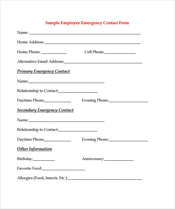 Employee Forms U2013 11+ Download Documents In PDF Sample Templates