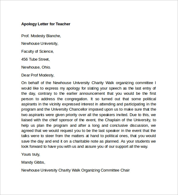 Letter of Apology to Teacher