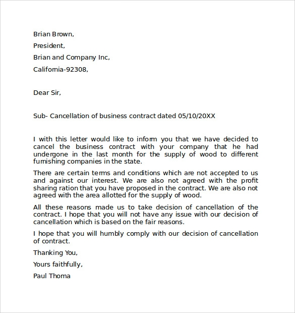Cancellation Apology Letter