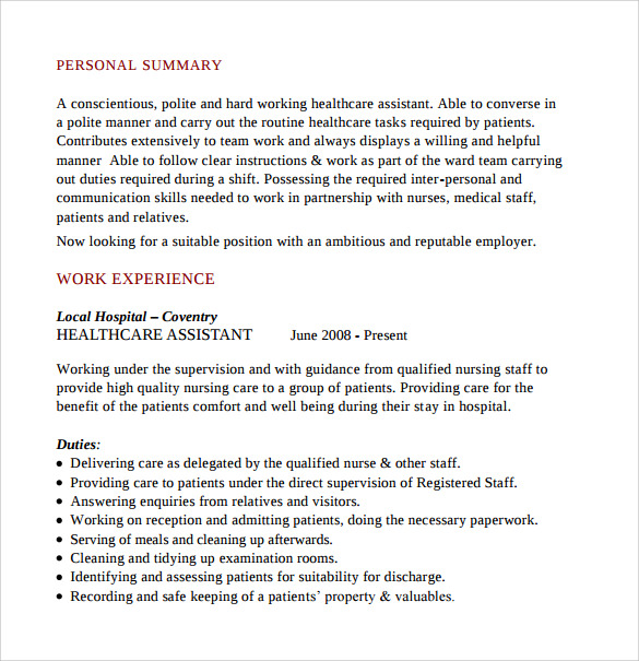 Top 8 Geriatric Nursing Assistant Resume Samples 1 Sample Nursing