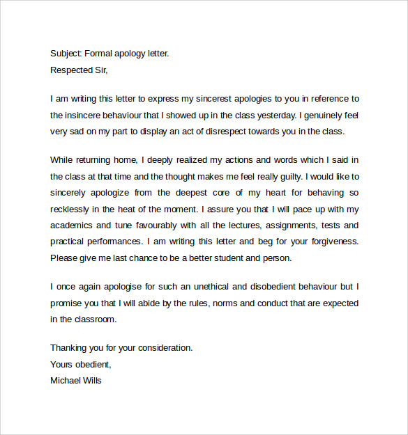 formal letter of apology