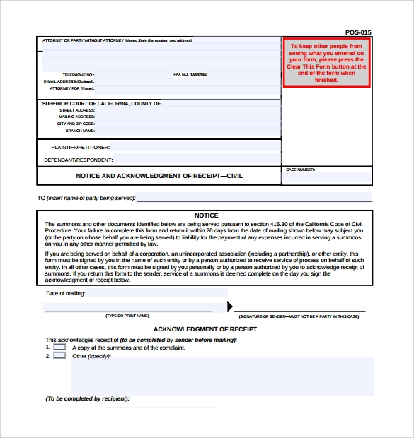 acknowledgement of service form sample download