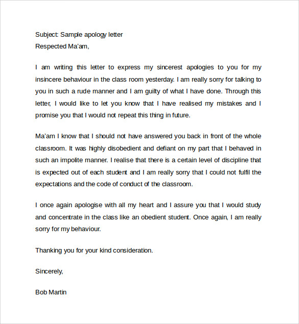 Sample Letter Of Apology