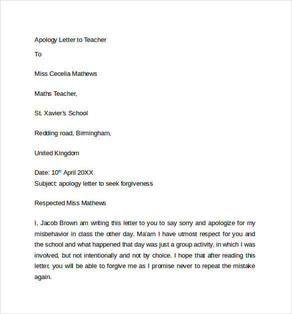 Sample Apology Letter to Teacher 7 Download Free Documents In – Example Apology Letter