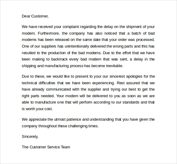 Exceptional Customer Service Apology Letter  Apologize Letter To Client