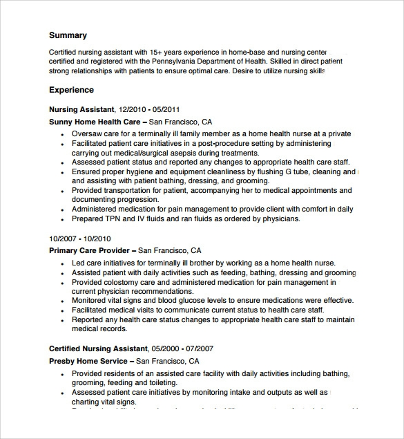cna resume template free certified nursing assistant