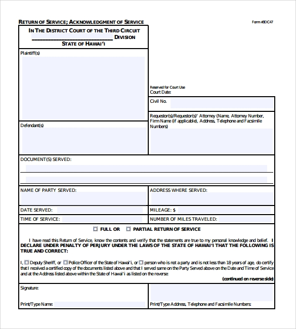 acknowledgement of service form pdf download