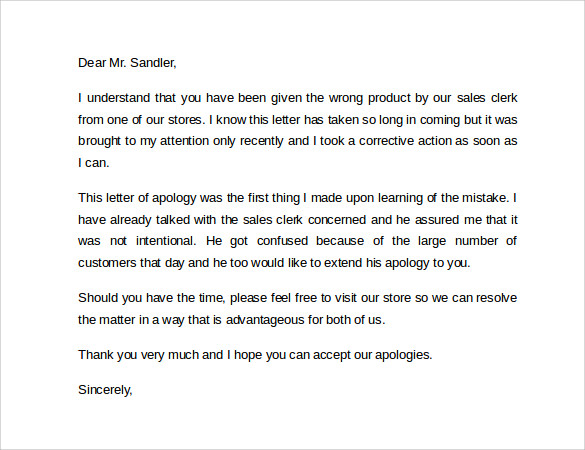 Sample Apology Letter To Customer   Documents In Pdf Word