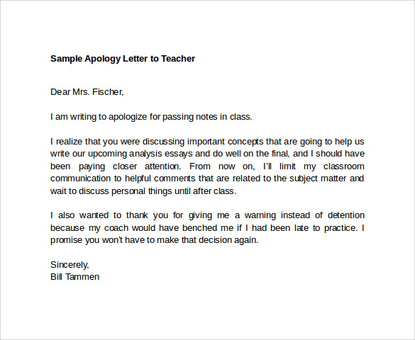 Sample Apology Letter to Teacher 7 Download Free Documents In – Format of Apology Letter