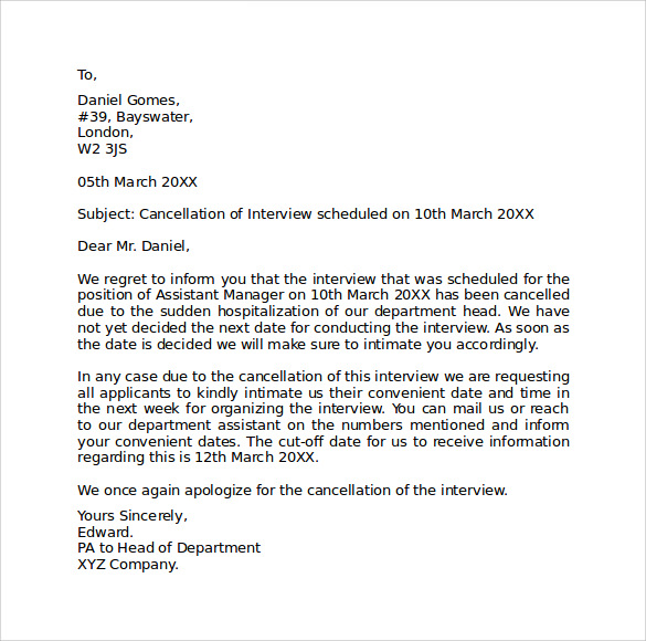 Apology Letter For Cancellation Interview apology email sample – How to Write a Apology Letter to a Customer