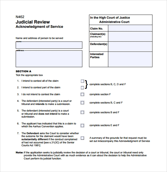 acknowledgement of service form to download