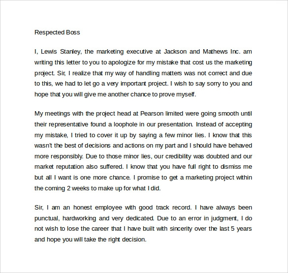 Sample Work Apology Letter   Download Free Documents In Pdf Word