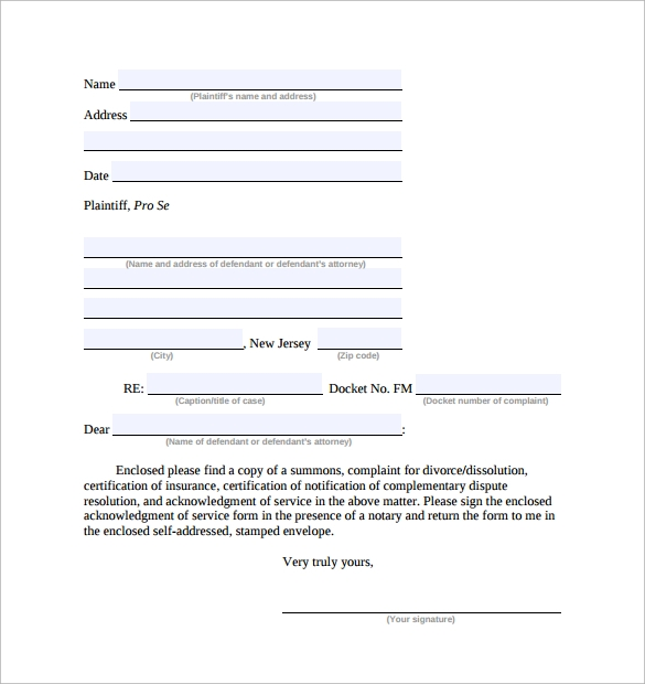 acknowledgement of service form simple
