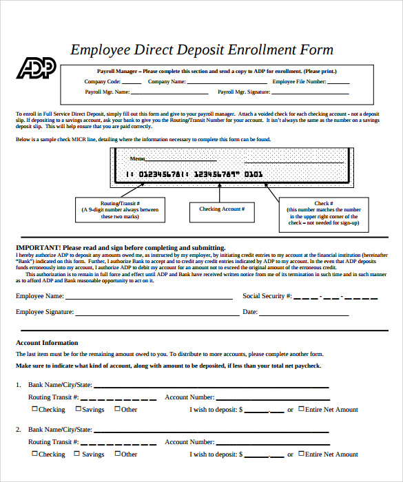 direct deposit form template