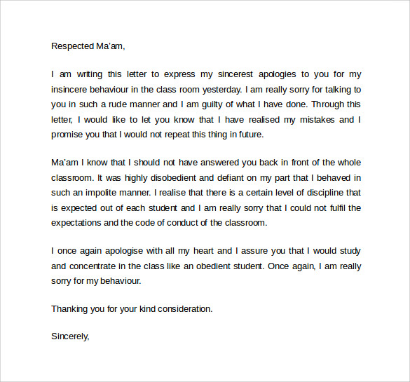 Business Apology Letter Sample Pdf sample business apology letter – Apology Letter Sample to Boss