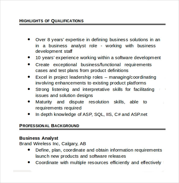 sample business analyst resume 8 documents in pdf word