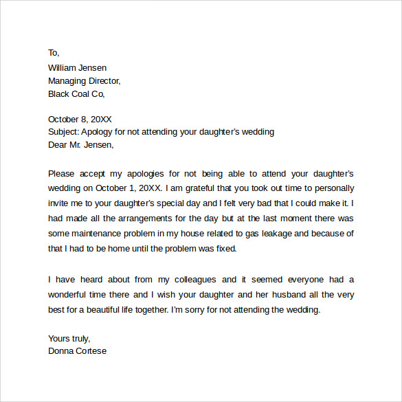 Sample Professional Apology Letter   Download Free Documents