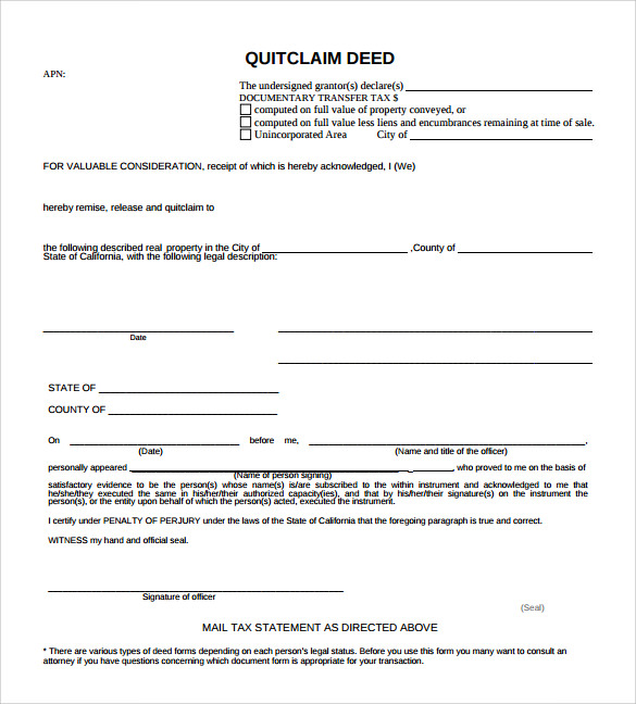 sample quitclaim deed form example