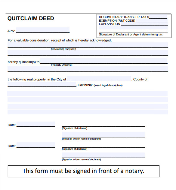 free sample quit claim deed form