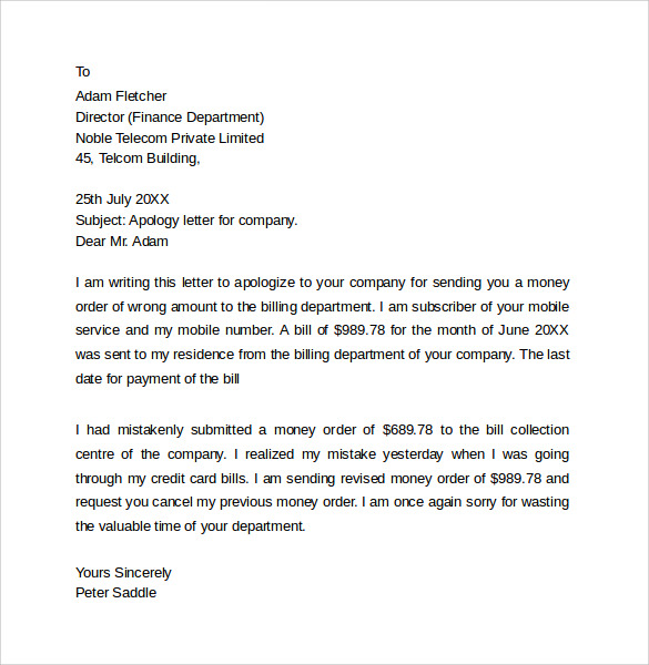 Sample Professional Apology letter 10 Download Free Documents in