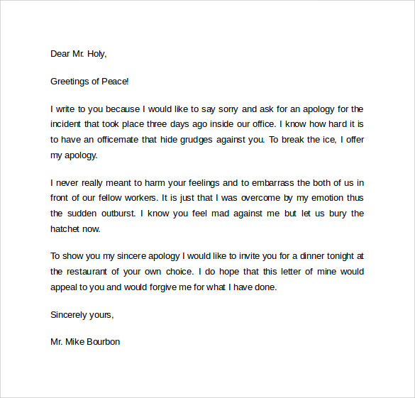 Apology Letter Example - 11+ Download Free Documents in Word, PDF