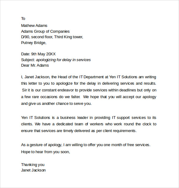 Sample Professional Apology letter 10 Download Free Documents