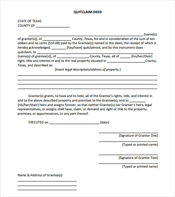 sample quitclaim deed form format