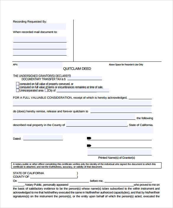 sample quitclaim deed form 11 free documents in pdf word