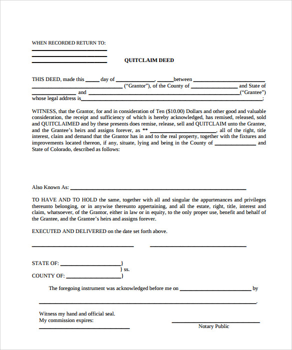 sample quit claim deed template