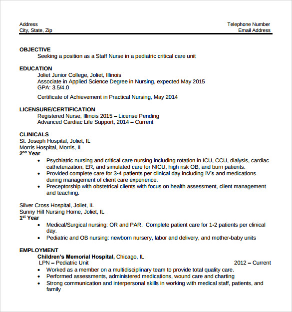 Lpn Resume Template | Resume Format Download Pdf