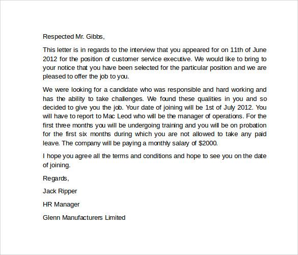job offer business letter