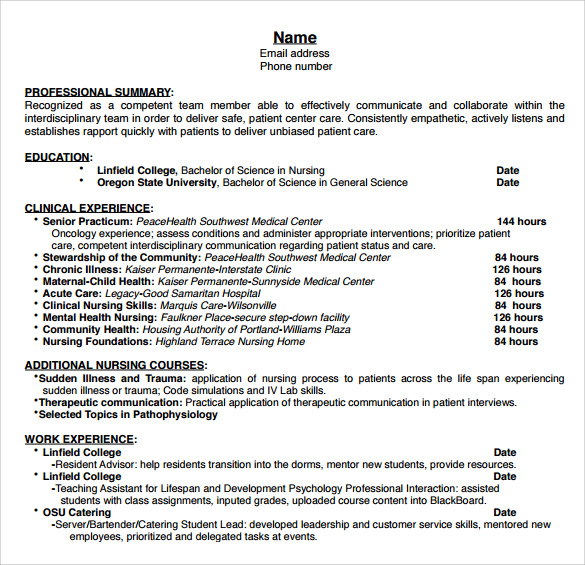 sample nurse resume 10 download free documents in word pdf