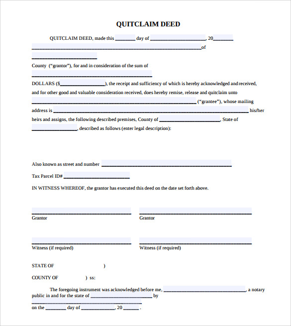 Quit Claim Deed Pdf Printable Sample Application Receipt Agreement