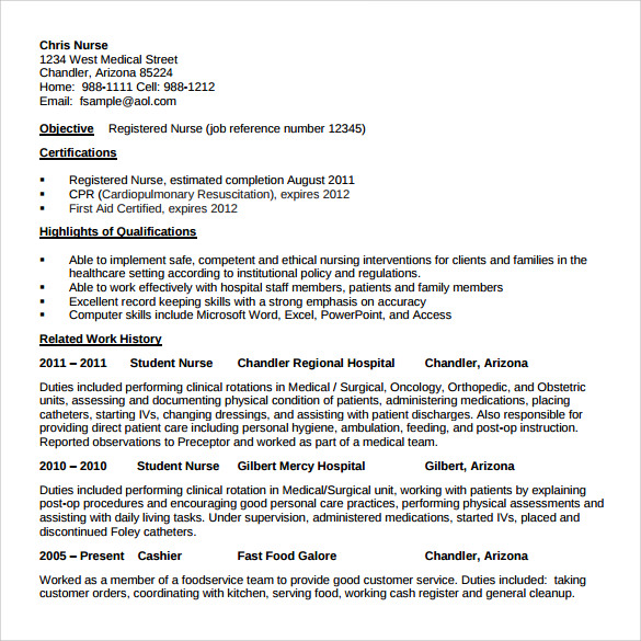 Nurse Resume 10 Download Free Documents In Word Pdf