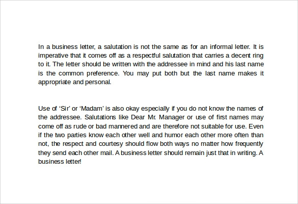 Business Letter Salutation