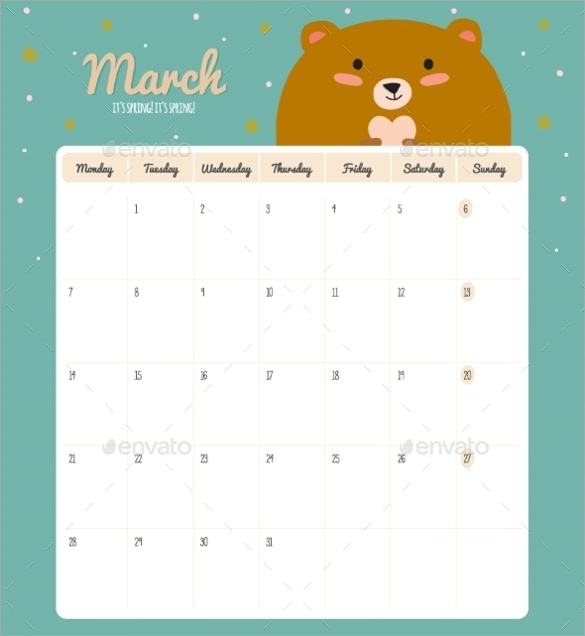 Sample Cute Calendar Template. Sample Weekly Appointment Calendar ...
