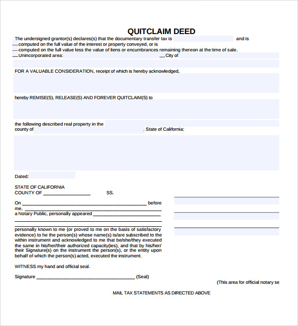 sample quitclaim deed form download