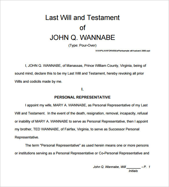 14 sample will form templates free samples examples for Sample of a last will and testament template