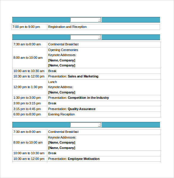 10 conference schedule samples sample templates. Black Bedroom Furniture Sets. Home Design Ideas