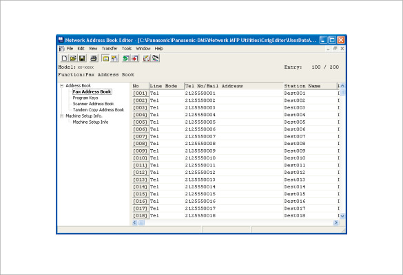 sample address book