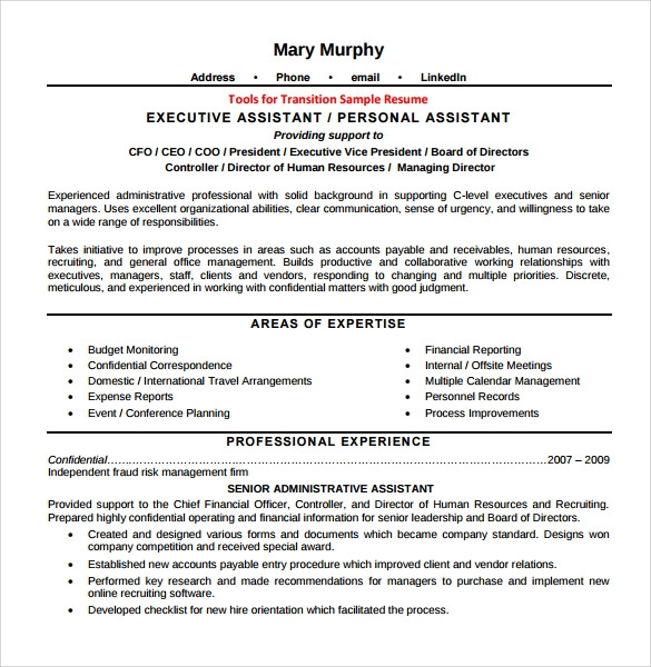 Sample Executive Assistant Resume 6 Examples Format
