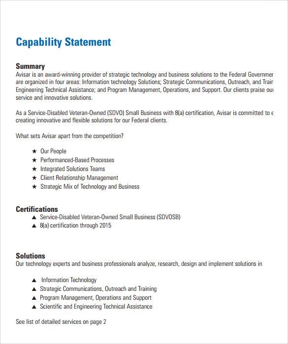 Sample Capability Statement Templates – 12+ Free Documents